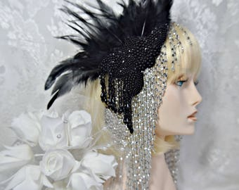 Gatsby HEADPIECE 4 PIECE, 1920s roaring 20s flapper silver beaded headband headpiece, Great Gatsby wedding, Gatsby Accessories, Dress party
