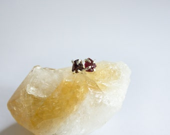 Raw Red Garnet Mineral Studs - raw gemstone earrings - sterling silver - one of a kind