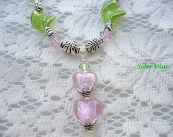 Pink And Green Beaded Sterling Necklace