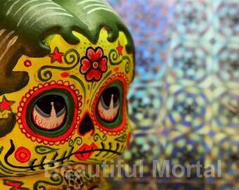 Beautiful Mortal Adorable Yellow Dia De Los Muertos Deadey Boop Canon PRINT 323 Reproduction by Michael Brown