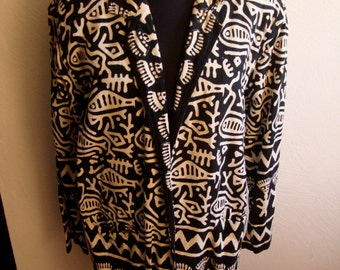 Eighties Unconstructed Blazer in Black and White Tribal Print Cotton