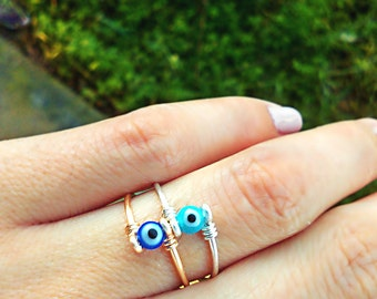 """Blue White Sapphire glass """" Evil Eye """" eyeball Ring Small Dainty Gold MIDI KNUCKLE Ring Available in other wire tones gray"""