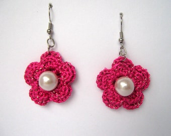 Pink rose Crochet Earrings with a glass pearls