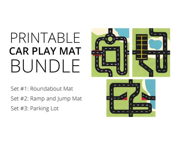 Car Play Mat Printable Bundle Sets 1 2 And 3 For Mini Toy
