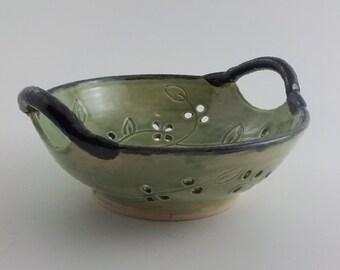 Pierced Fruit Bowl - Handmade Ceramic Centerpiece - Decorative Stoneware - Celadon Green with Black Rim and Handles - Ready to Ship b361