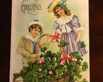 1908 Vintage Embossed Hearty Greeting Postcard