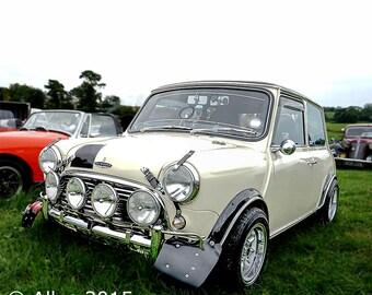Austin Mini Cooper. Old Car. Antique Mini. Classic Car. Vintage vehicle - Square Photograph  - AllyEphotography