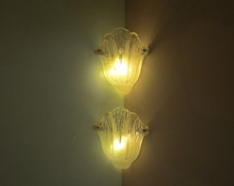 Signed EZAN - French Art Deco Pair Light Sconces- 1930s French Pair Wall Lights -Heavy Molded Glass-Fantastic Condition-Art Deco Pair Lights