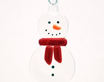 Glassworks Northwest - Clear Snowman with a Red Scarf - Fused Glass Ornament