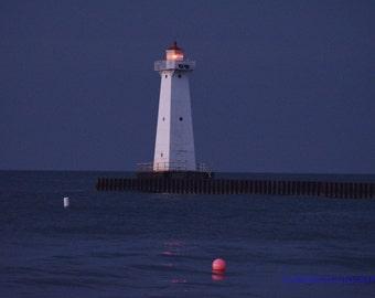 Sodus Point lighthouse at dusk Digital  Photographyk  ,fine art print 5x7 or 8x1,0 Home Decor
