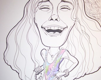 Janis Joplin Rock Portrait Rock and Roll Caricature Music Art by Leslie Mehl