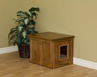 Cat Litter Box Cat Litter Furniture Oak Wood Cat Litter Box Hideaway Litter Pan Cover-Wood With Drawer