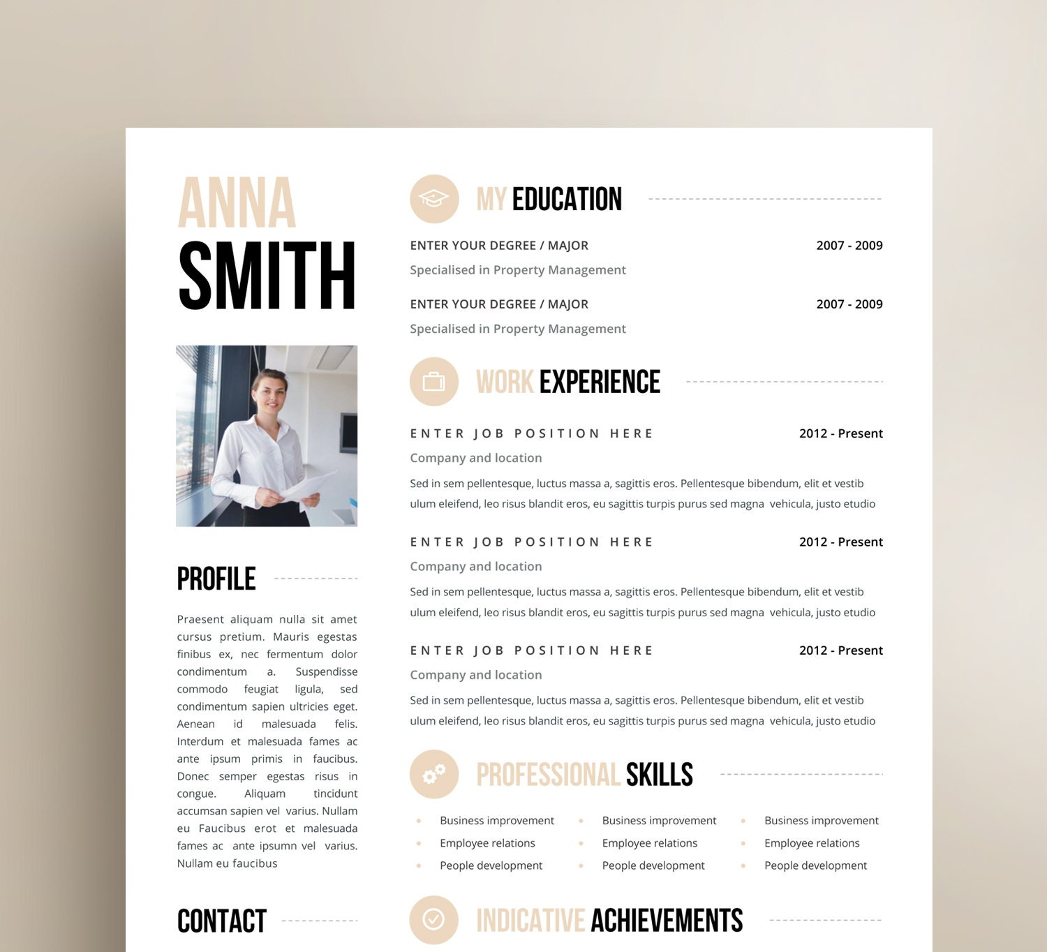 Customized Resume Design Microsoft Word Template Cover