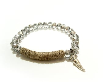 Beaded Stretch Bracelet, metallic grey iridescent coated abacus beads linen tube bar, vegetable pepper charm