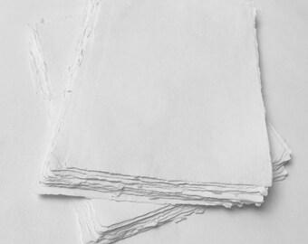 """8.3"""" x 11.7"""" (A4) White, 150gsm Handmade Deckle Edge Cotton Rag Paper // Deckle Edge Paper, Cotton Paper, Invitation Paper, Torn Edge Paper"""