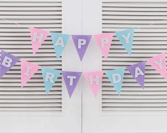 Happy Birthday Bunting Pastel  pink purple blue Triangle Flags lettering Banner Party Supplies Decorations