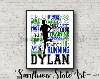Gift for Runner, Personalized Running Poster, Marathon Gift, Runner Art, Typography, Running Print 26.2 13.1 Gift for Runners Free Shipping