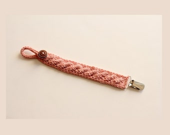 PDF Knitting Pattern Cabled Pacifier Clip | Knitted Pacifier Clip