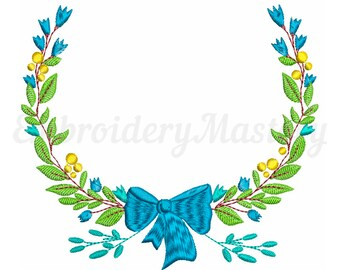 Floral Wreath Machine Embroidery Designs. Instant Download. 3 sizes