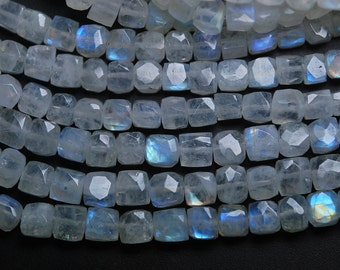8 inch Strand,Super Finest,Super Rare,BLUE Flashy RAINBOW Moonstone Faceted 3D Box Shape Briolettes,6.5-7mm Size,
