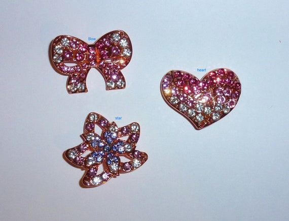 Puppy Bows ~  PINK heart, PURPLE star, pink bow rhinestones dog bow  pet hair clip topknot barrette (rh1)