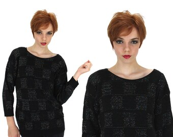 Vintage 80s Metallic Sweater 90s Black Checkered Squares Cosby Scoop Neck Small S Medium M