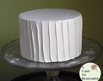 "6"" round fake cake with  vertical ridged icing for photo shoots and home staging. Faux cake wedding cake cupcake display, food prop."