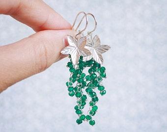 Emerald Vine - GREEN ONYX sterling silver wire-wrapped cluster cascade earrings