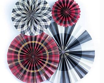 Plaid Pinwheel Backdrop | Buffalo Plaid Party Decor Paper Pinwheel Fans Tartan Lumberjack Birthday Paper Rosette Backdrop Woodland Birthday