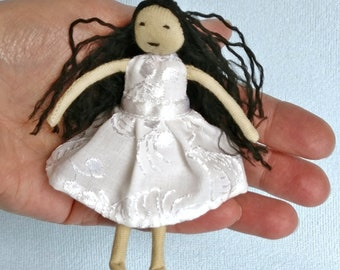 "Ebony Doll 4"" Miniature Toy Black Hair White Embroidered Dress Cotton Soft Stuffed Handmade Dollhouse Figure"