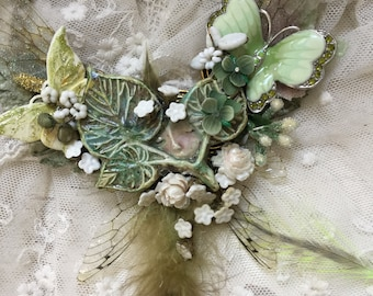 Ooak handmade bib necklace baby pixie in the garden