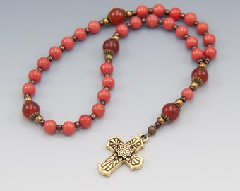 Ladies Pink Prayer Beads - Christian Rosary - Anglican - Episcopal - Methodist - Protestant - Baptist - Item # 778