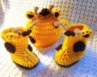 Giraffe Beanie and Baby Booties Crochet Pattern  PDF  211