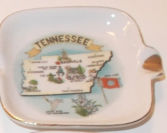 Tennessee Collectible Ashtray,  Made in Japan, Porcelain with gold trim edge