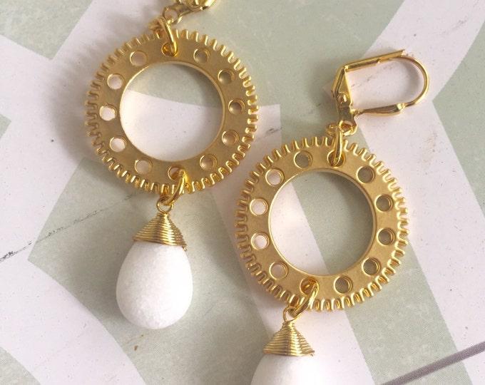 SALE Steampunk Gold Gear Earrings with White Stines. Gold Hoop Dangle Earrings. Long Gold Dangle Earrings.  Geometric Earrings.  Jewelry.