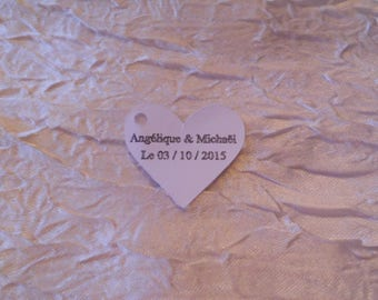 Labels a lozenge-shaped heart (name + date)
