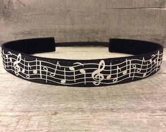 Music Notes Nonslip Headband,  Noslip Headband, Workout Headband, Sports Headband, Running Headband, Athletic Headband