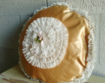 Vintage Gold Boudoir Throw Pillow Case Cover Round Lace FREE SHIPPING