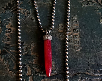 SURRENDER. Ruby Spike Necklace, Pave Diamond, Spike, Ruby and Diamonds, Ruby Necklace, Silver Chain Gemstone Pendant, Edgy, Rocker, Dark Red