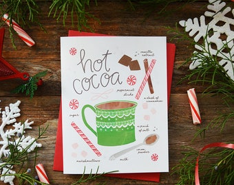 Gingerbread cookie recipe illustration greeting card hot cocoa recipe illustration greeting card have a cup of cheer christmas card hot chocolate holiday card teacher gift cookie exchange m4hsunfo