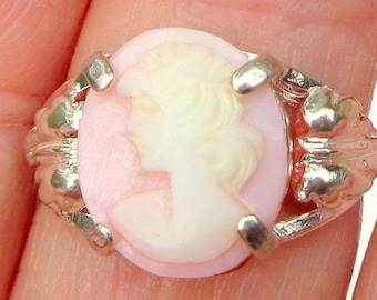 Vintage Cameo,New Sterling Silver Ring,Hand Carved Cameo,Carved Conch Shell Cameo,OOAK