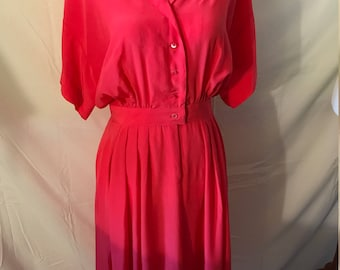 Hot Pink 80's Collared Dress