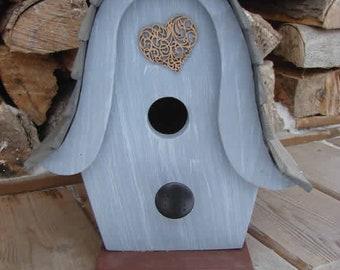 Heart Gray Birdhouse, Wooden Birdhouse, Painted Birdhouse, Outdoor Birdhouse, Unique Birdhouse, Bird House