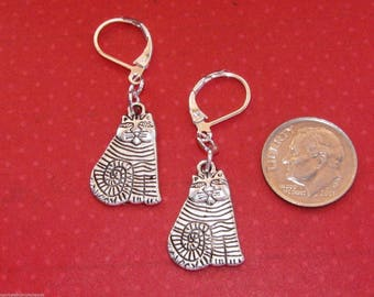 KITTY CAT Charm Lever Back Earrings Silver Plated Pet Bohemian