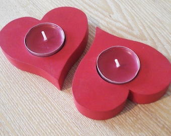 Red heart wooden candle holder