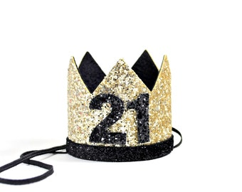 21st Birthday Crown    Adult Birthday Crown    Over The Hill Birthday    Adult Party Hat    Gold + Black + 40