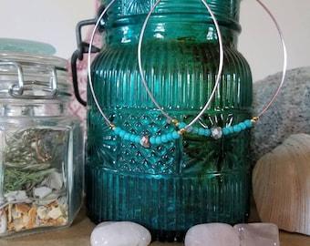 Turquoise Hoop Earrings - Hoop Earrings - Pink Hoops - Gifts For Her - Date Night Jewelry - Big Hoops - Date Night Earrings  - Boho Hoops