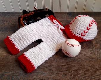 Newborn Crochet Baseball Hat and Pants, Handmade Crochet Photo Prop, Knit Baseball Outfit, Newborn Baseball Hat, Newborn Knit Baseball Hat