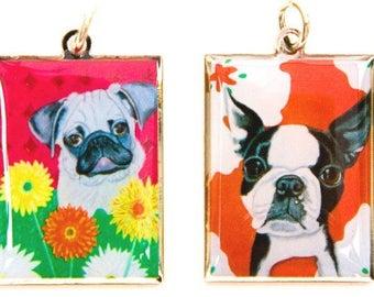 Pug or Boston Terrier Charm, Zipper Pull, Pendant, Dog tag, puppy, dog