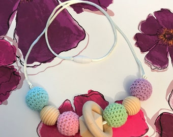 Pastels Crochet Teething Necklace